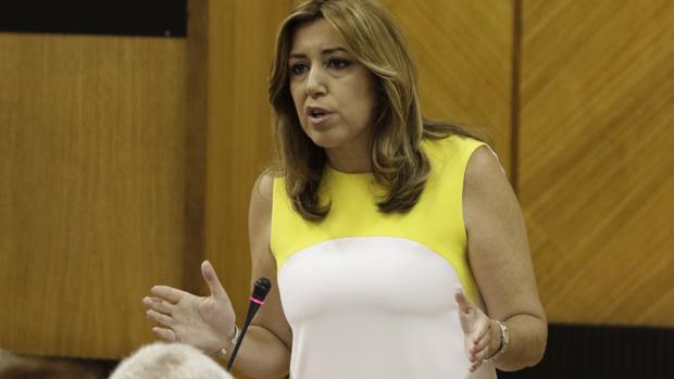 La presidenta de la Junta, Susana Díaz, este jueves en el Parlamento de Andalucía