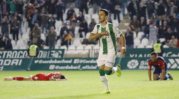 Jovanovic celebra el gol de la victoria ante el Extremadura