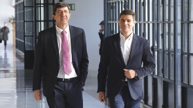 El líder de Ciudadanos en Andalucía, Juan Marín, este jueves en el Parlamento