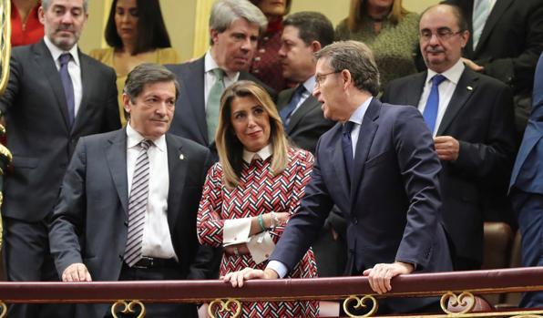 Susana Díaz en la tribuna del Congreso junto a Fernández, Feijóo, Lambán y García Page