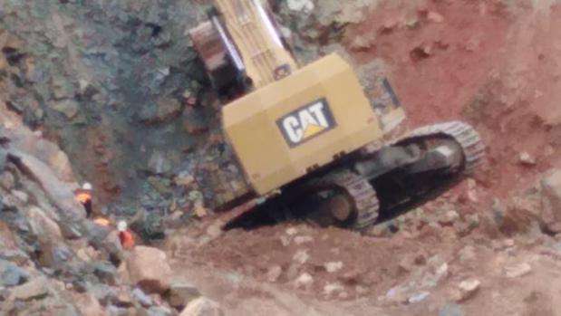 La máquina, hundida mientras trabajaba en un filón de la mina
