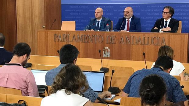 Rueda de prensa de Vox ayer para explicar su veto a las cuentas de Andalucía