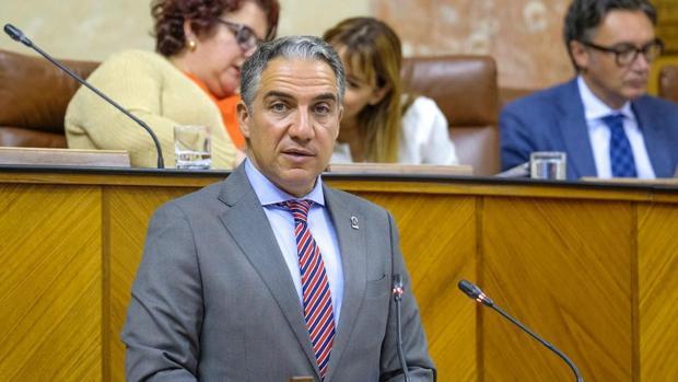 El consejero de la Presidencia, Elías Bendodo, este miércoles en el Parlamento