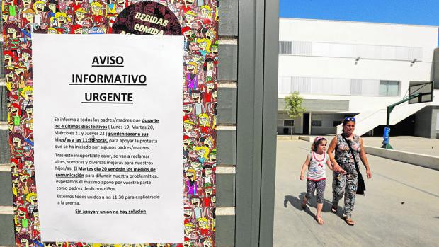 Aviso por la ola de calor en el verano de 2017 en un colegio de Córdoba