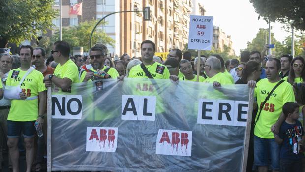 Manifestación de empleados de ABB el pasado lunes