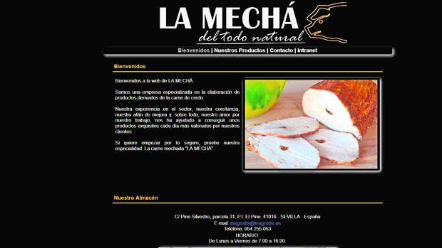 Página web de la empresa donde muestra la carne mechada retirada del mercado