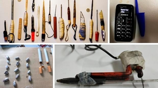 Armas, droga, un teléfono móvil y una máquina para tatuar intervenidas en la prisión