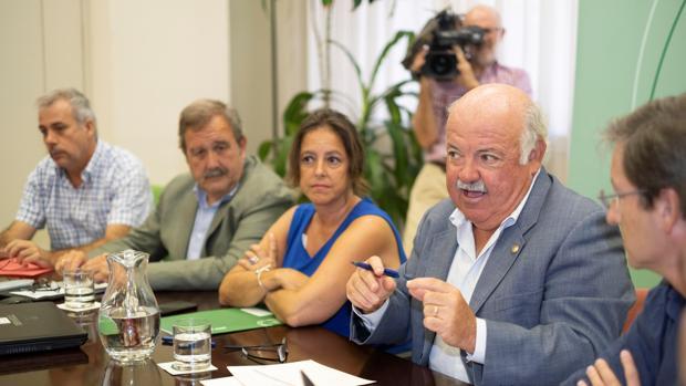 El consejero de Salud y Familias de la Junta de Andalucía, Jesús Aguirre, junto a expertos sanitarios