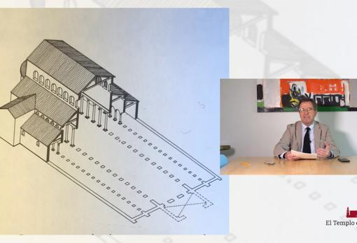Gabriel Ruiz Cabrero, con una de las ilustracciones que mostró para su conferencia