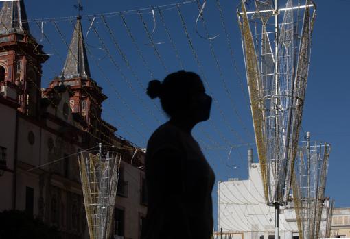 Luces de navidad en la Plaza del Salvador en Sevilla
