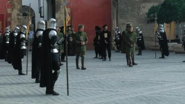 Ensayo en la Puerta del León del Real Alcázar durante la tarde de este jueves