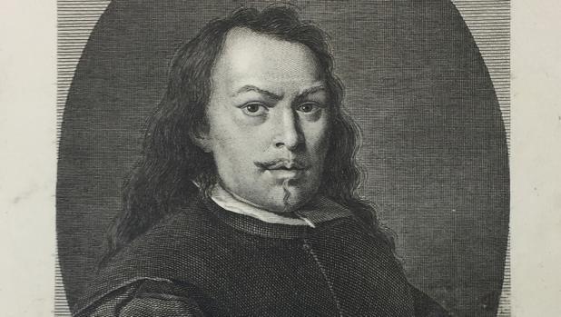 Grabado realizado por Manuel Alegre y que muestra el autorretrato de Murillo conservado en la Frick