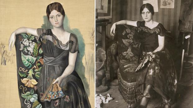 «Retrato de Olga en un sillón», lienzo de 1918. A su derecha, fotografía de Émile Delétang del mismo año