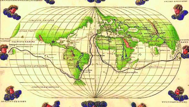 Mapamundi de Battista Agnese, del siglo XVI, en el que aparece la ruta que realizaron Magallanes y Elcano