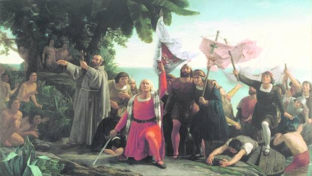 «Primer desembarco ce Cristóbal Colón en América», de Dióscoro Puebla (1862)