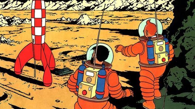 Tintín en «Aterrizaje en la Luna», de Hergé