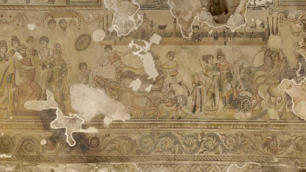 Vista de una de las partes del mosaico en el «triclino» de 290 metros cuadrados