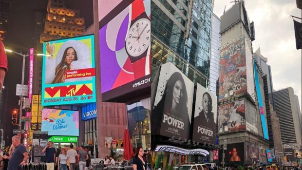 Imágenes de Rosalía y la obra de Domingo Zapata en Times Square (Nueva York)