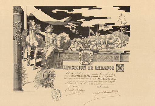 Ejemplar de diploma realizado por el Ayuntamiento a partir del diseño de García Ramos