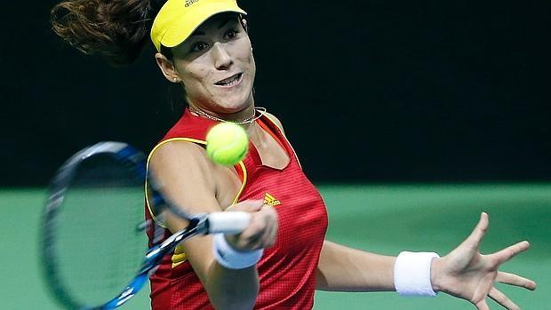 Muguruza, en su partido ante Jelena Jankovic