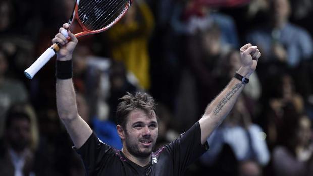 Wawrinka celebra una victoria en el pasado Torneo de Maestros, en el que alcanzó las semifinales