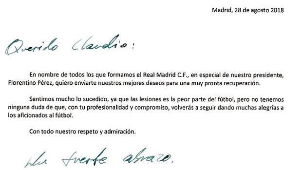 La carta que ha enviado el club blanco a Claudio Bravo