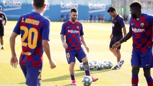 Messi, durante el entrenamiento