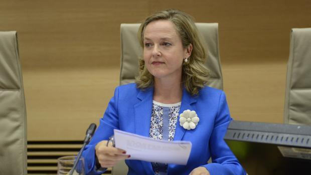 La minitra de Economía, Nadia Calviño, este martes en el Congreso