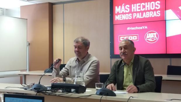Unai Sordo y Pepe Álvarez, esta mañana en la sede de UGT