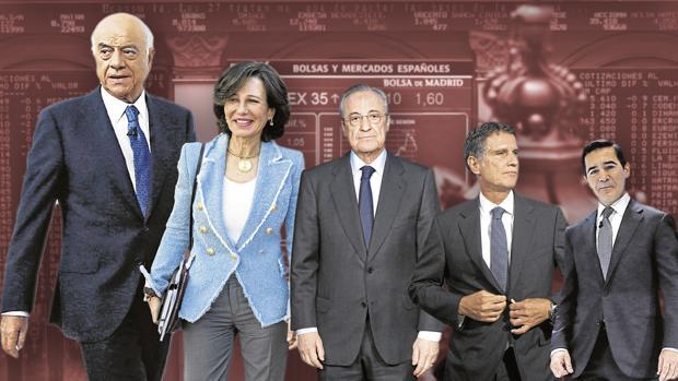 De mayor a menor, los planes de pensiones más altos: Francisco González (BBVA: 79,7 millones), Ana Botín (Santander: 46,09), Florentino Pérez (ACS: 41,05), Jaime Guardiola (Banco Sabadell: 22,47) y Carlos Torres (BBVA: 18,58)