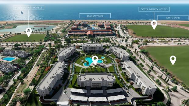 Las cuatro parcelas de Grupo Soluciones en las que el Grupo Soluciones construirá dos hoteles y dos urbanizaciones (en la imagen recreación virtual de una de ellas)