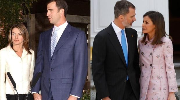 Don Felipe y Doña Letizia en 2003 y 2018