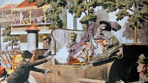 Dibujo que representa el asesinato del heredero del Imperio de Austria-Hungría, el archiduque Francisco Fernando, y de su mujer, la duquesa de Hohenberg, Sofía Chotek