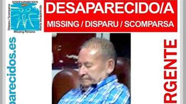El cartel con la fotografía que difundió la asociación SOS Desaparecidos en redes sociales