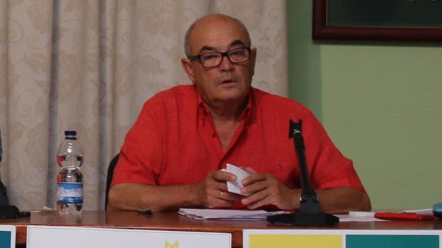 José Antonio Navarro durante una de las juntas directivas de Adelquivir cuando era director gerente de la asociación