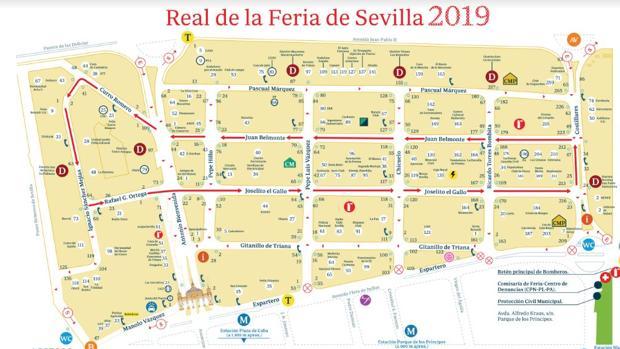 Mapa Callejero De Sevilla.Plano De La Feria De Abril De Sevilla 2019 Todas Las Calles
