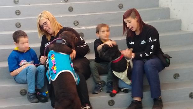 Monitoras en el centro de Evolucan con menores y perros que sirven de terapia