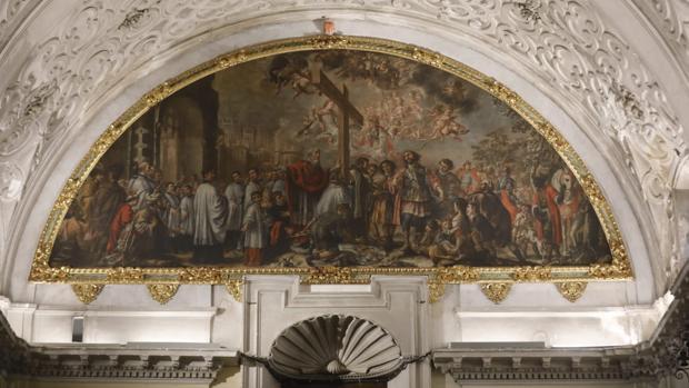El cuadro de «La Exaltación de la Cruz», de Valdés Leal, en la Santa Caridad