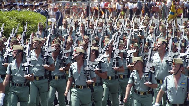 Unidad de legionarios en el desfile que se celebró en Sevilla en 2006