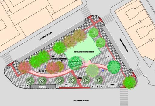 Plano de la Glorieta Jardín Pepe da Rosa tras la realización del proyecto de reurbanización integral previsto