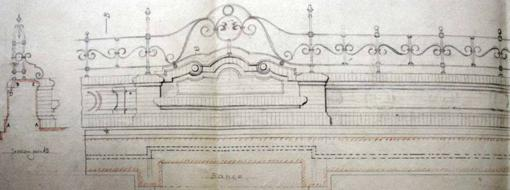 Dibujo de Vicente Traver con el diseño de los bancos de las Delicias